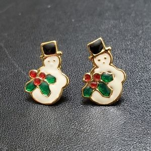 Gold tone holiday snowman earrings